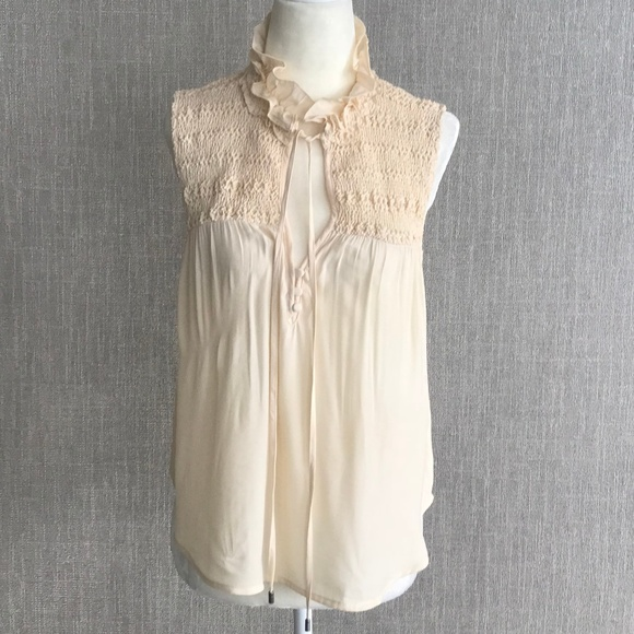 Free People Tops - Free People Lace High-Neck Tie Front Blouse